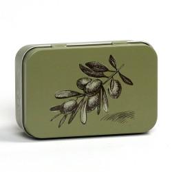 Oliivinvihreä metallinen saippuarasia
